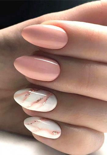 White and pink almond nails