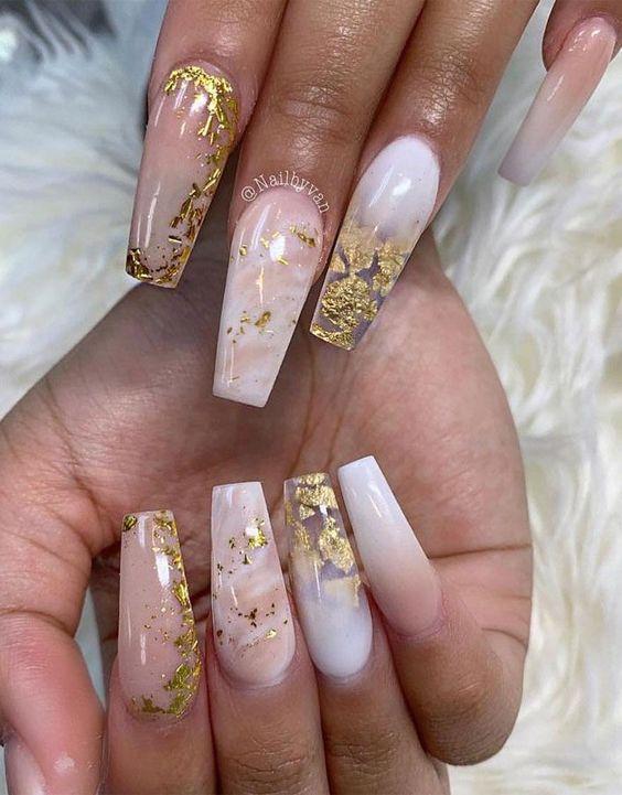Gold foil pink nails