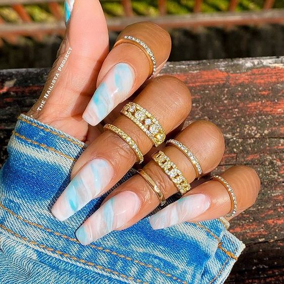 Light blue and pink nails, cotton candy nails
