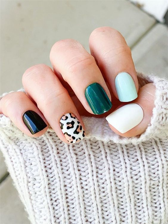 Colorful short nail designs with animal print