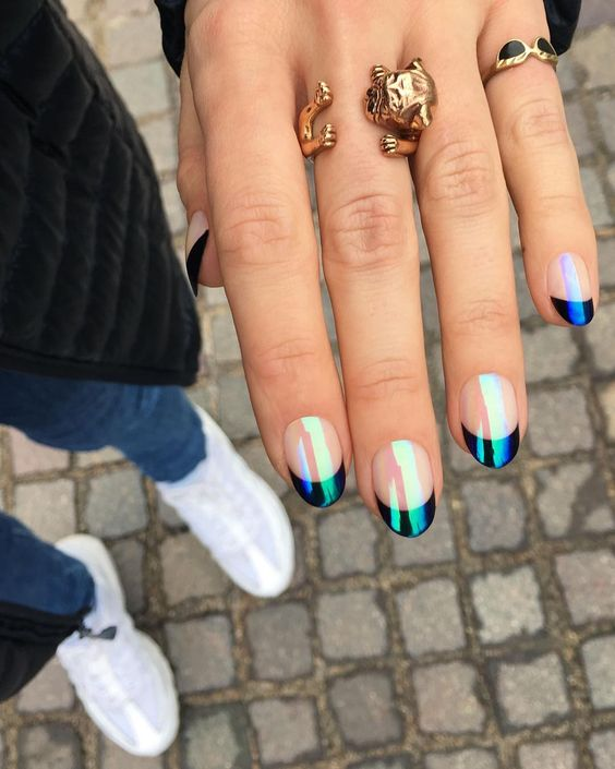 Holographic black short French tip nails