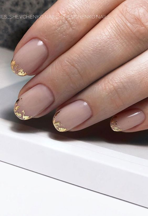 Short French tip nails with gold foil