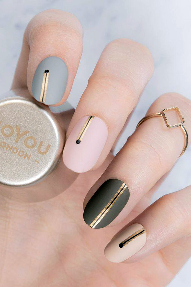 Short matte nail designs with gold, black, pink, grey and beige