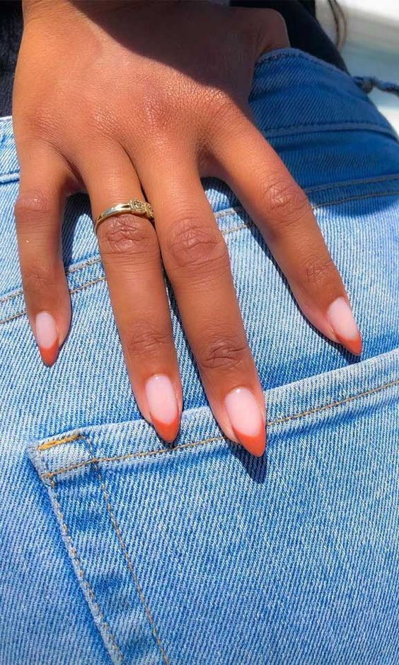 Brown French tip nails