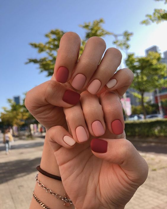 Matte short and brown ombre nail designs