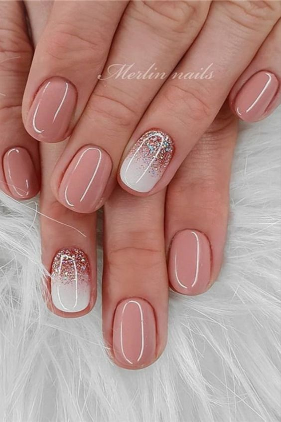 White and pink short nail designs with glitter