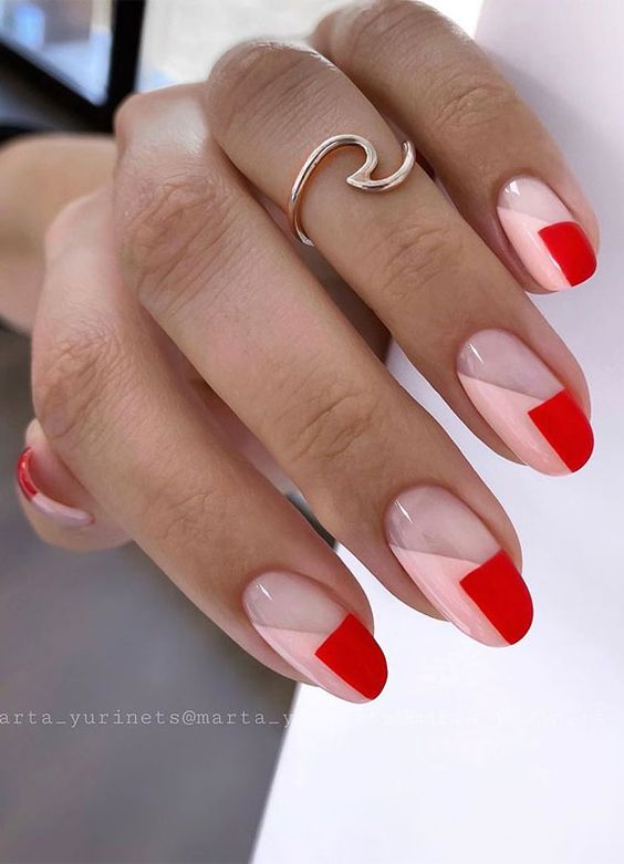 Red and pink geometric nail art ideas