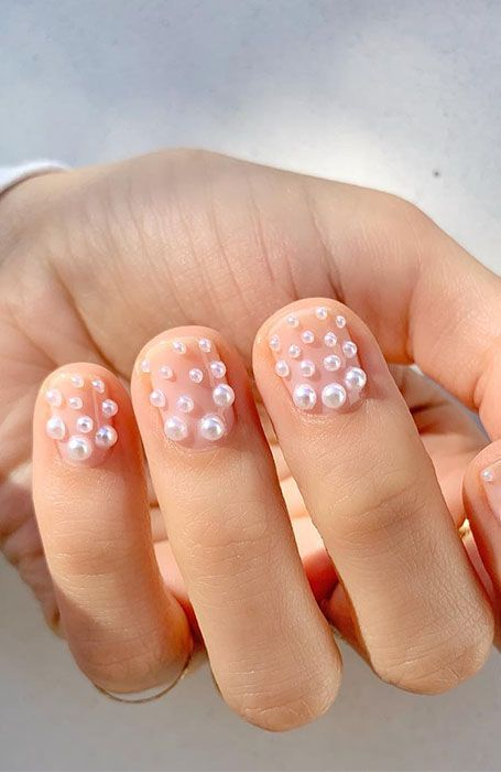 Short nail designs with pearls