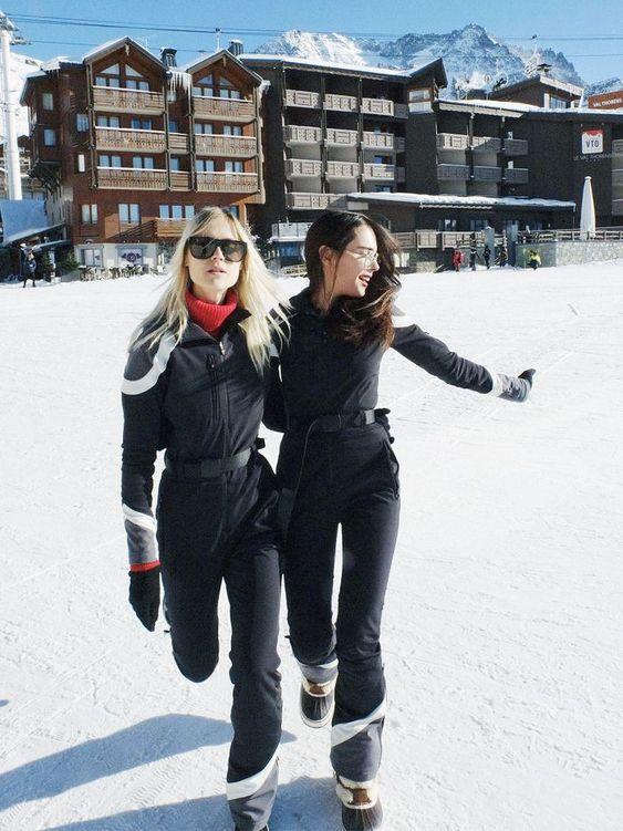 All black ski suit looks