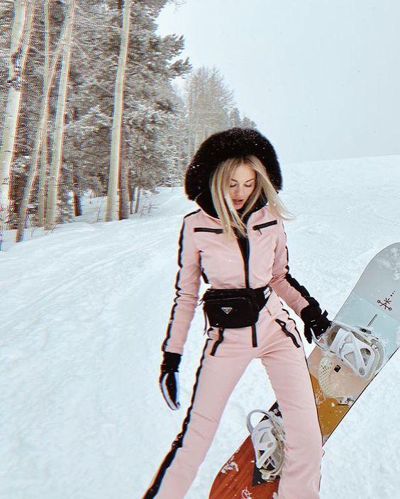 Pink ski suits