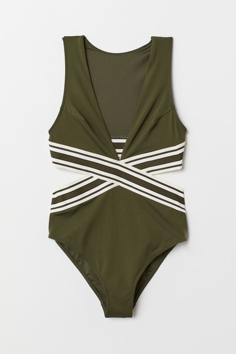 Khaki green cut out one piece that covers back