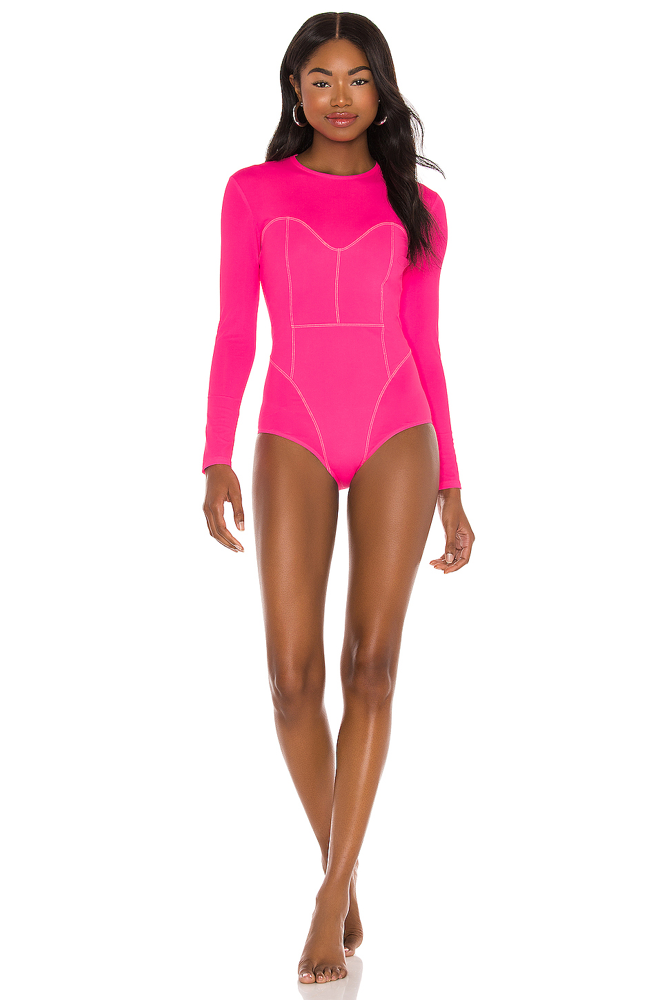 Hot pink long sleeve one piece swimsuit that covers back acne and shoulders