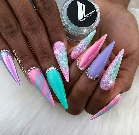 Pink, blue and purple acrylic stiletto nails
