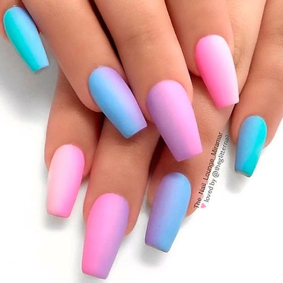 Matte pastel pink and blue nails - gender reveal nail ideas