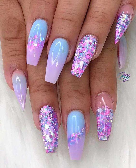 Purple ombre unicorn nails with glitter