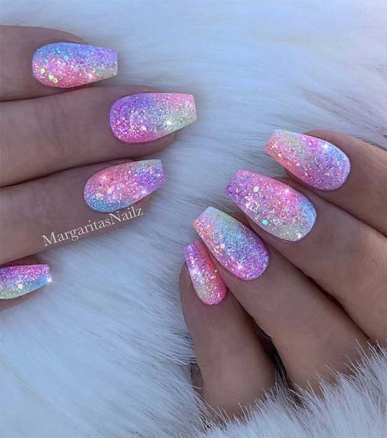 Pastel rainbow nails with glitter