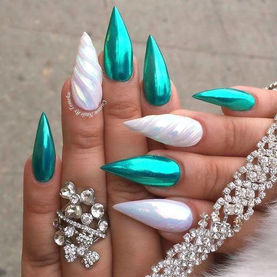 White and green unicorn nails in acrylic stiletto shape