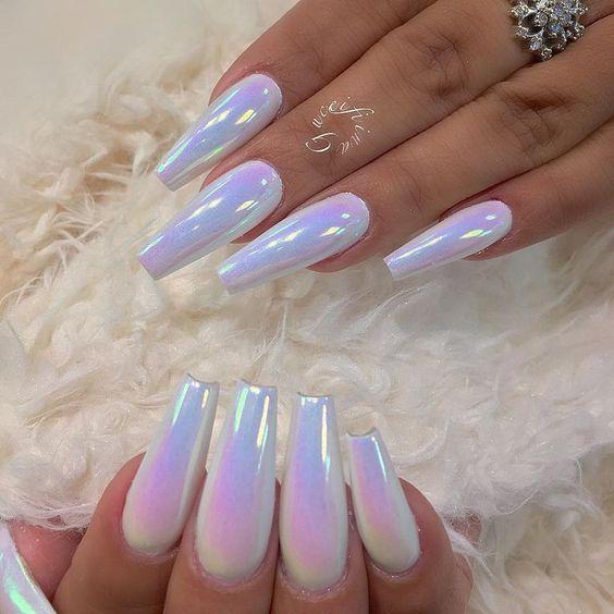 Acrylic coffin unicorn nails