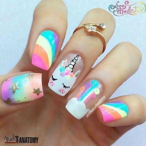 Cute unicorn and rainbow nail art