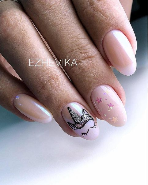 Cute and simple unicorn nails