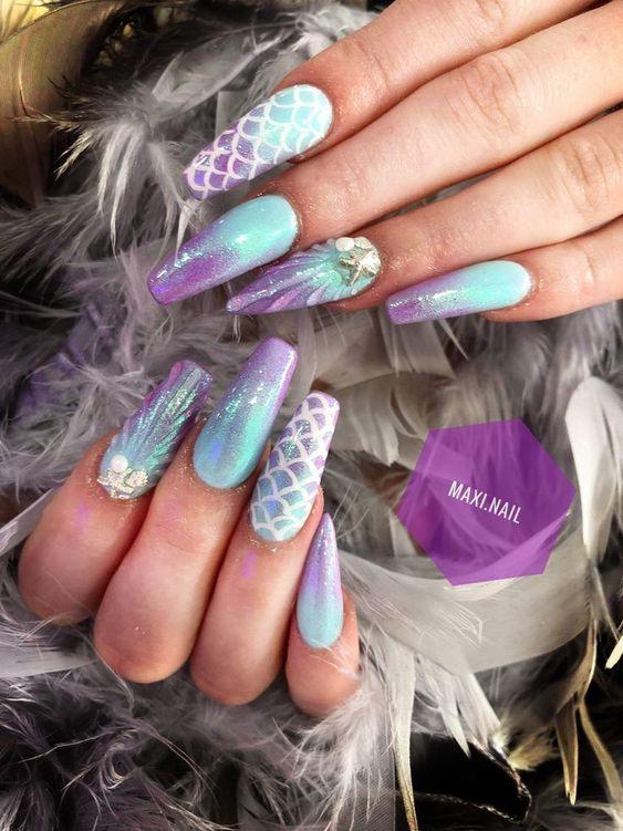 Purple and blue mermaid nails