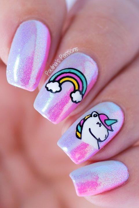 Cute unicorn nail art ideas