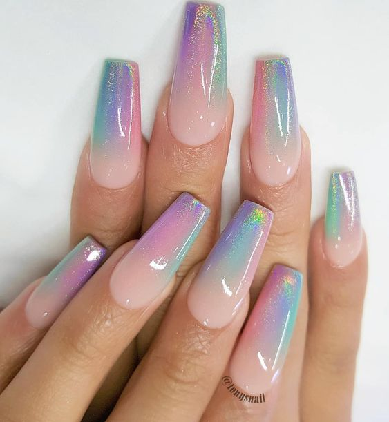 Pink and purple holographic unicorn nails in acrylic coffin shape