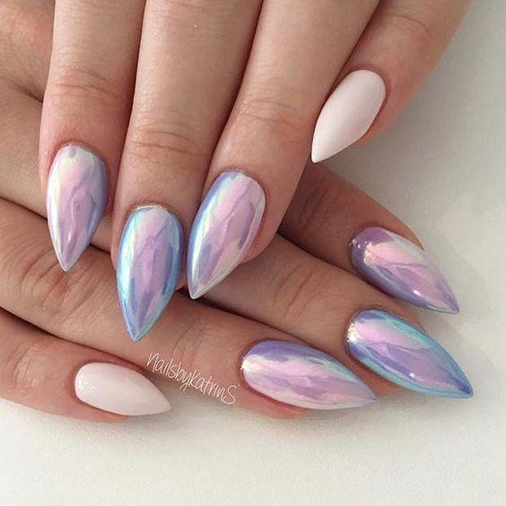 Holographic purple unicorn nails