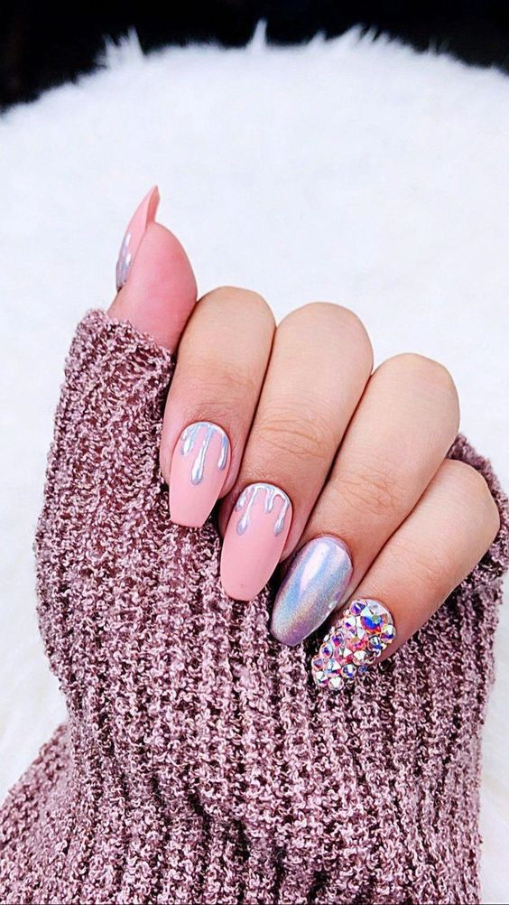 Matte pink ice cream nails with holographic silver