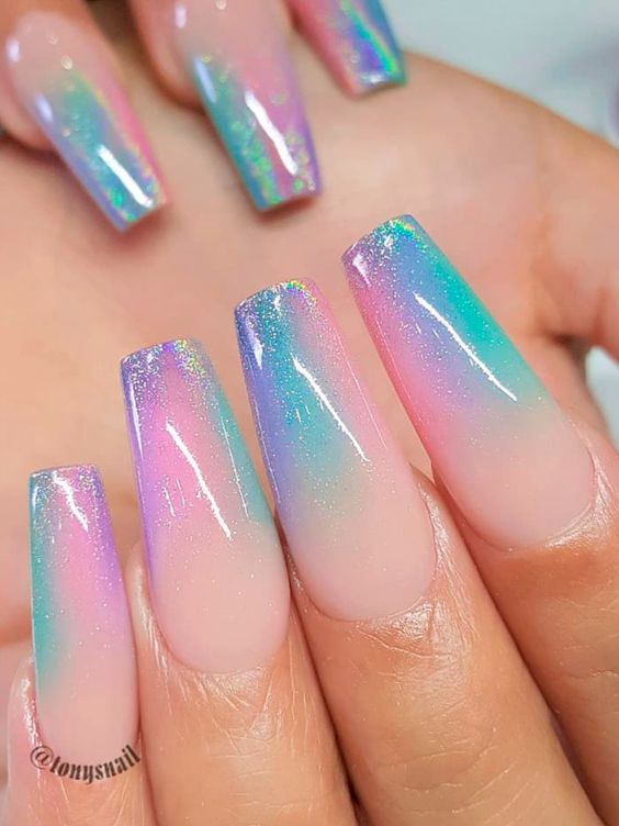 Holographic pink, blue and purple unicorn nails