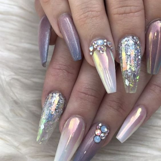 Purple holographic unicorn nails with glitter