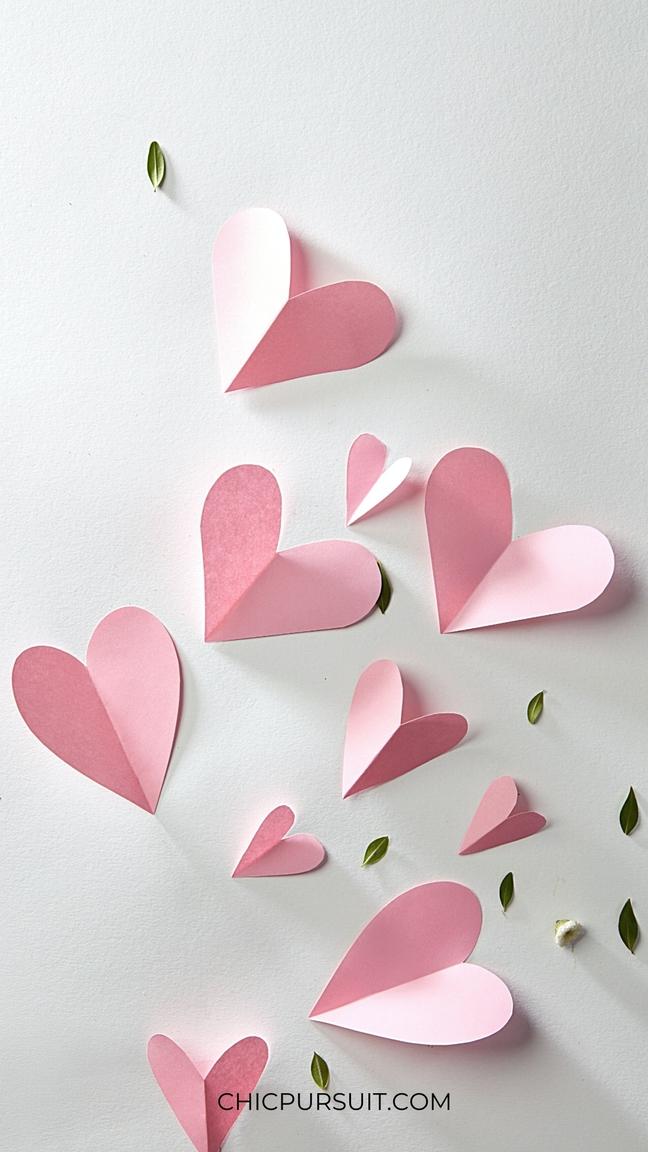 Pink paper hearts wallpaper