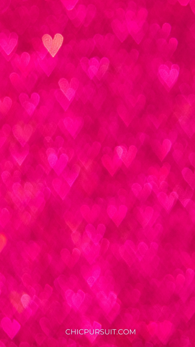Cute Valentine's Day Wallpapers For iPhone with hot pink hearts