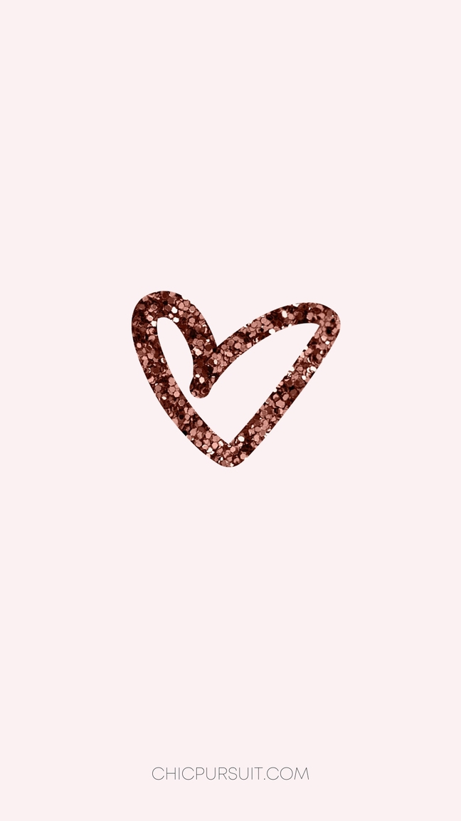Cute Valentine's Day Wallpapers For iPhone with rose gold heart