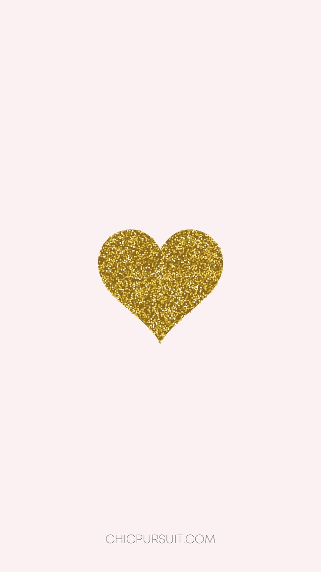 Cute Valentine's Day Wallpapers For iPhone with gold heart