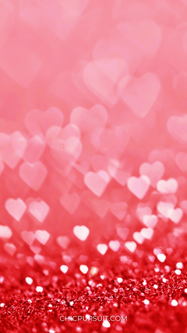Cute Valentine's Day Wallpapers For iPhone with red and pink hearts