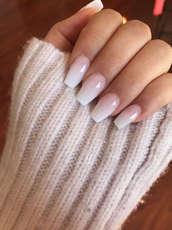 Pink and white ombre acrylic wedding nails