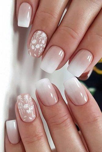 Pink and white acrylic bridal nails