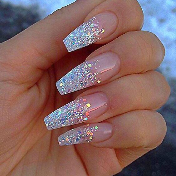 Acrylic coffin bridal nails with glitter