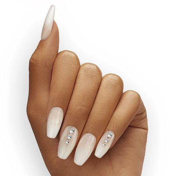 Acrylic white wedding nails with crystals