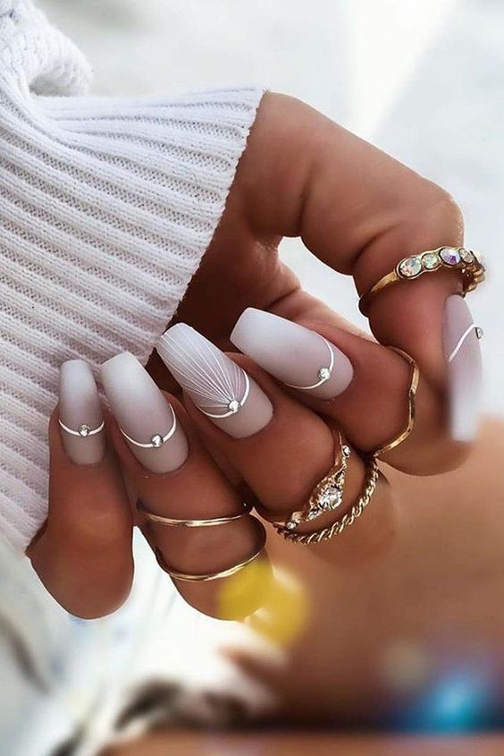 Matte acrylic wedding nails for bride with ombre effect