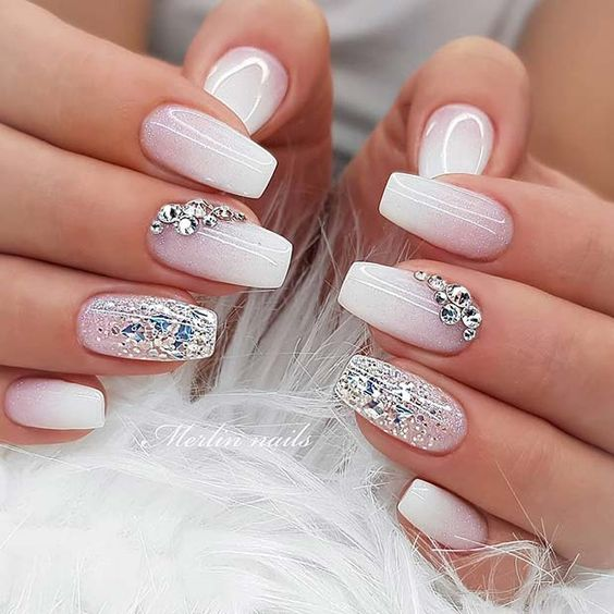Pink and white ombre wedding nails for bride