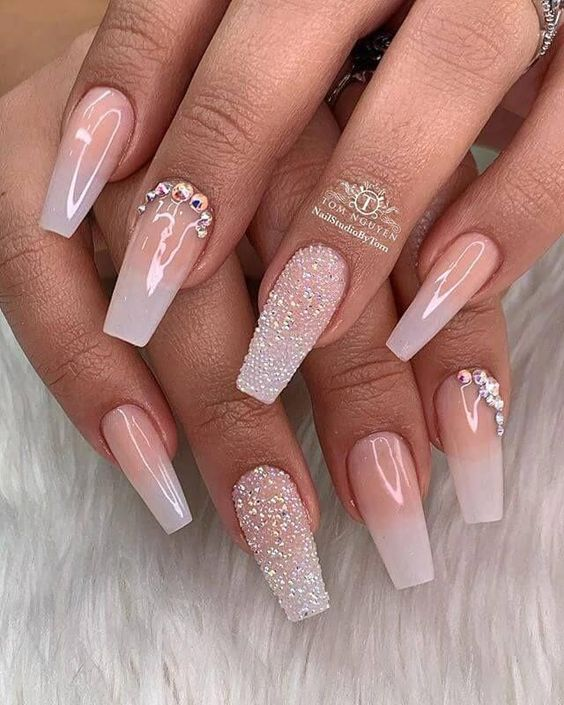 Pink and white ombre wedding nails for bride in acrylic coffin