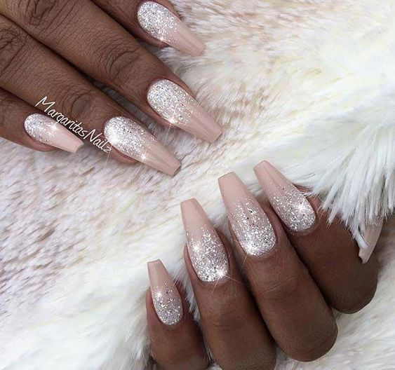 Light pink acrylic coffin bridal nails with glitter