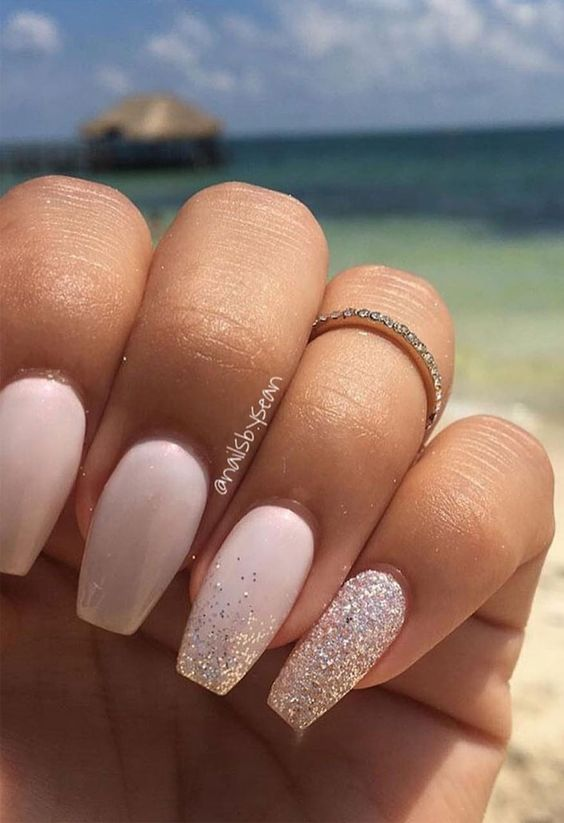 Pink acrylic wedding nails with glitter