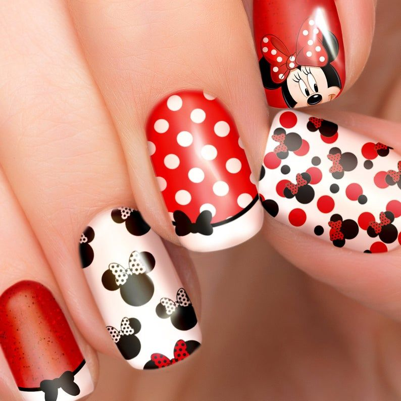 Cute red Minnie Mouse nail stickers