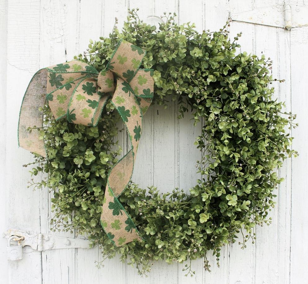 Shamrock wreath with greenery
