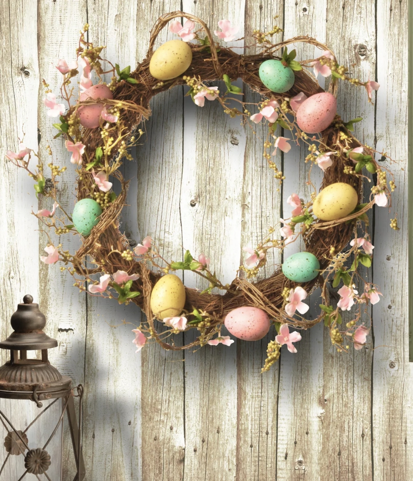 Grapevine Easter eggs wreath