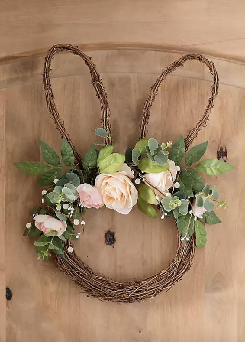Simple and elegant Easter bunny wreath