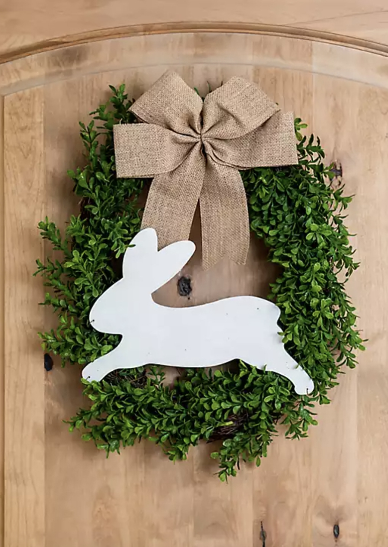Boxwood Easter wreath with bunny